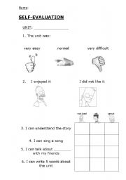 English Worksheets: Self-evaluation