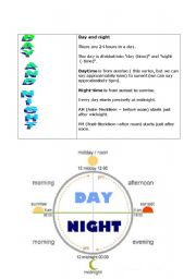 English worksheet: day and night