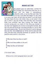 English Worksheets: ANNA�S KITTEN