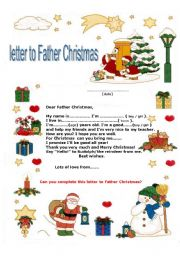 Worksheet a letter to father christmas english worksheet a letter to father christmas spiritdancerdesigns Image collections
