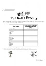 English Worksheets: The Music Experts