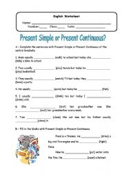 English Worksheet: Present Simple or Present Continuous?