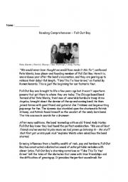 English Worksheets: Fall Out Boy - Reading Comprehension