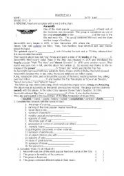 English Worksheet: reading of aerosmith