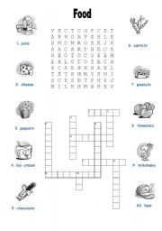 English Worksheet: Food Wordsoup and Crossword