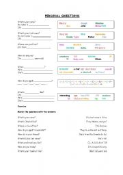 English Worksheets: Personal Questions - What, Where, Who, How