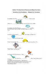 English Worksheets: Song: Somewhere over the rainbow
