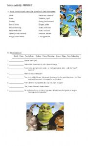 English Worksheet: Movie Activity: Shrek 2