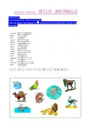 English Worksheets: Wild Animals Puzzle