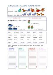 English Worksheet: Singular Plural Nouns Exercise and Grammar guide