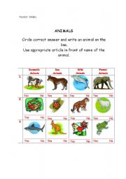 English Worksheets: Kinds of ANIMALS