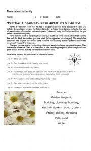 English Worksheet: writing a poem