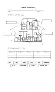 Of The House Elementary Worksheet