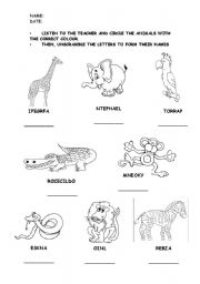 English Worksheet: WILD ANIMALS (LISTENING-READING WORKSHEET)