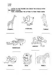English Worksheets: WILD ANIMALS (LISTENING-READING WORKSHEET)