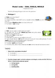 English Worksheet: Modal verbs - can, could, would