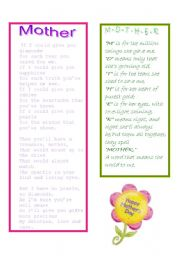 English Worksheet: mother´s day poems
