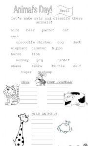 English Worksheet: ANIMALS SETS