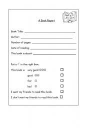 english worksheet book report