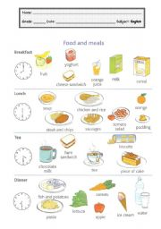 English Worksheet: Food and Meals