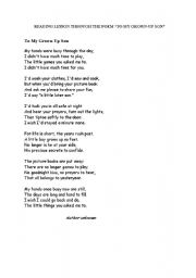 Reading Lesson With The Poem To My Grown Up Son Esl Worksheet By U Arden