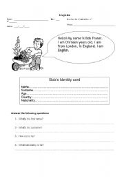 English Worksheets: Personal Identification; Verb to be