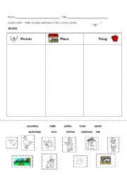 English Worksheets: Assesment Nouns