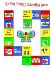 English Worksheet: The Very Hungry Caterpillar boardgame