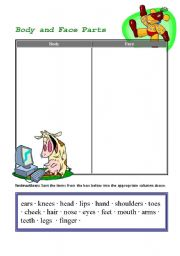 English Worksheets: body and face parts