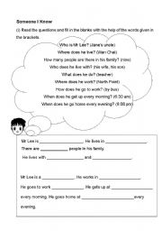 English Worksheets: writing: someone who i know