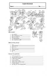 English Worksheets: What are they doing?