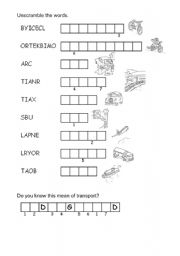 English Worksheet: Means of Transport Unscramble