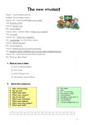 English Worksheets: THE NEW STUDENT