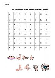 English Worksheets: wordsearch body