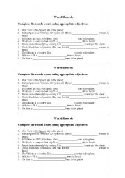 English Worksheet: World Records - Superlatives