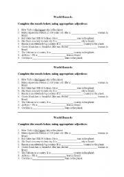 English Worksheets: World Records - Superlatives