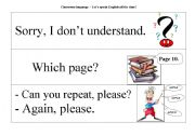 English Worksheet: Classroom Language - Let�s speak English all the time