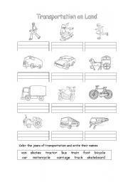 Transportation on land - ESL worksheet by cagucha