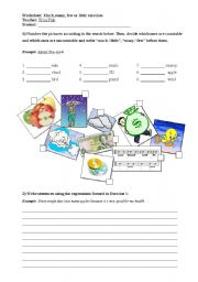English Worksheet: Much, many, few and little practice
