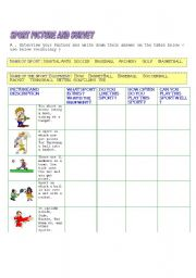 English Worksheets: Sport Description, Survey,Interview Questions Writing Worksheet