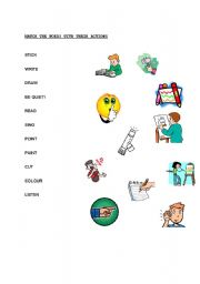 English Worksheets: MATCH THE WORDS WITH THEIR ACTIONS