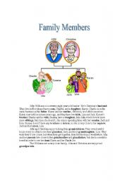 English Worksheet: Family Members with Short Story