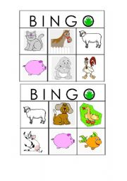 English Worksheet: farm animals bingo