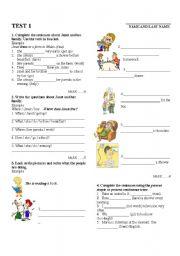 English Worksheet: Test - Present Simple