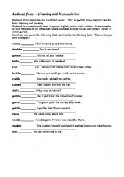 English Worksheets: Reduced forms