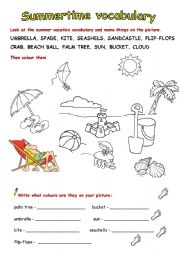 English Worksheet: Summer vacation vocabulary - full version