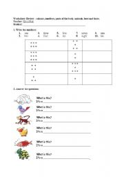 English Worksheet: Kids review - Numbers, Colours, Body, Animals, Here and There
