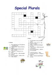 English Worksheets: Crossword Plural Forms
