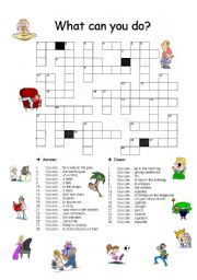 English Worksheet: Crossword - What can you do?