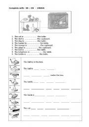 English Worksheet: in - on - under